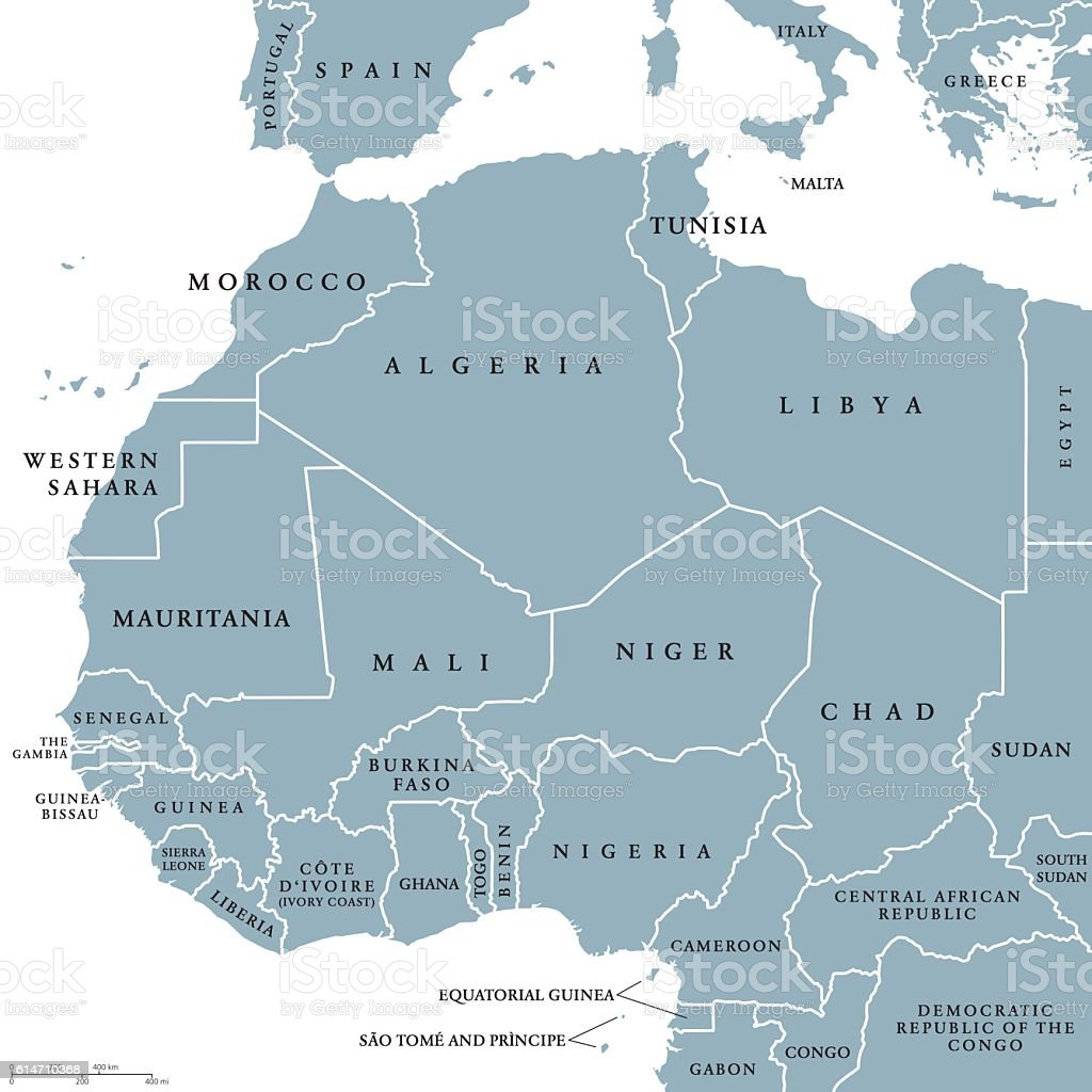 West Africa countries political map vector art illustration