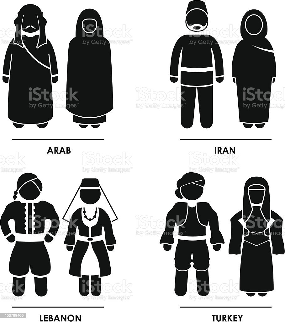 West Asia Clothing Costume Pictogram royalty-free stock photo