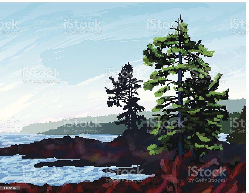 West Coast Landscape Illustration royalty-free stock photo