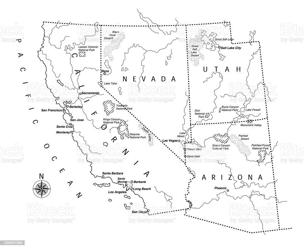 West Coast Usa Map Stock Photos West Coast Usa Map Stock Images - Us west coast national parks map