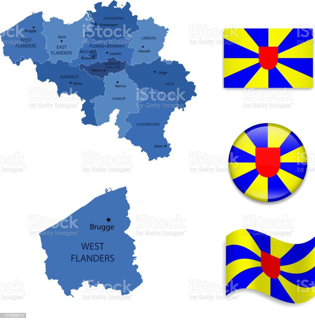 West  Flanders province set royalty-free stock vector art