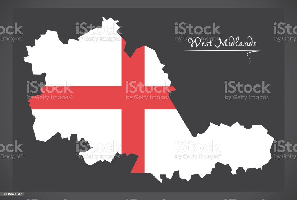 West Midlands county map England UK with English national flag illustration vector art illustration