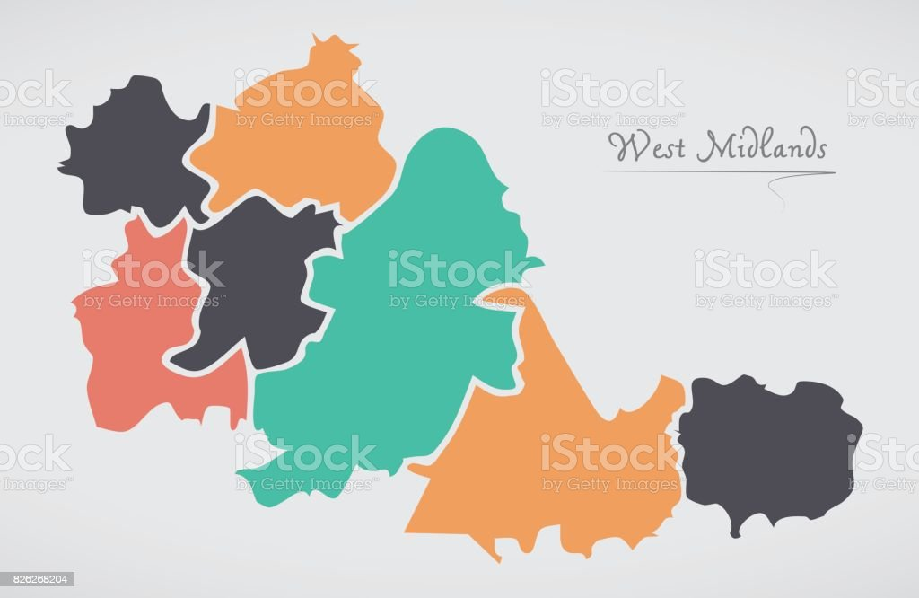 West Midlands England Map with states and modern round shapes vector art illustration