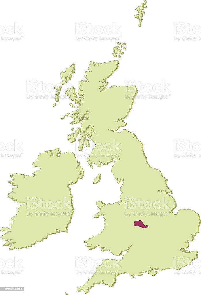 UK West Midlands map vector art illustration