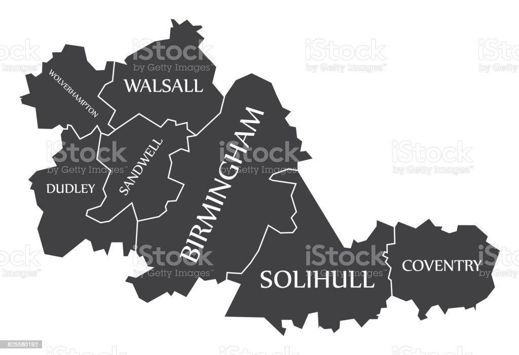 West Midlands metropolitan county England UK black map with white labels illustration vector art illustration