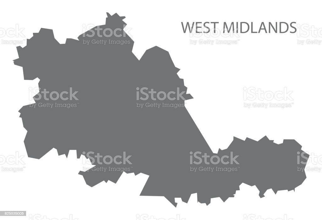 West Midlands metropolitan county map England UK grey illustration silhouette shape vector art illustration