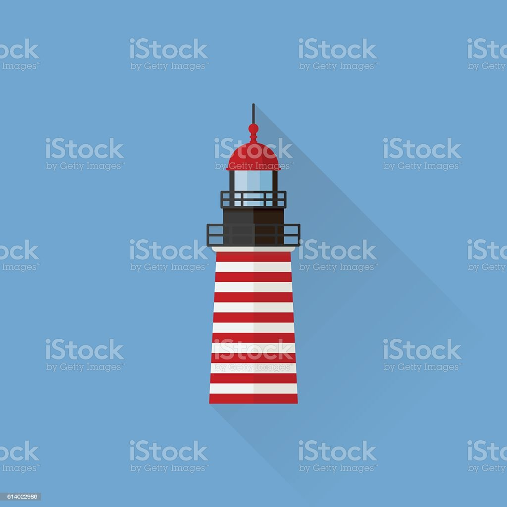 West Quoddy Head Lighthouse Flat design long shadow icon vector art illustration