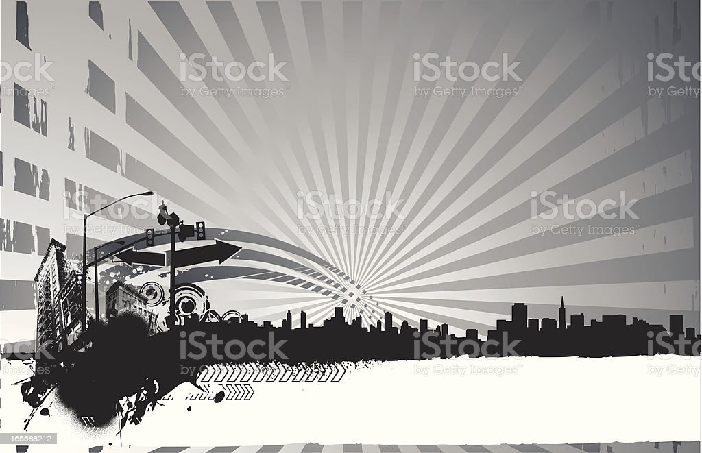 west side grunge royalty-free stock vector art