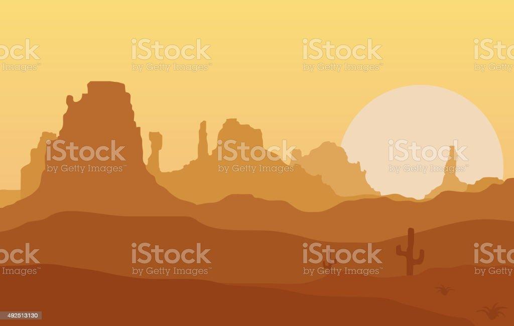 West. vector art illustration