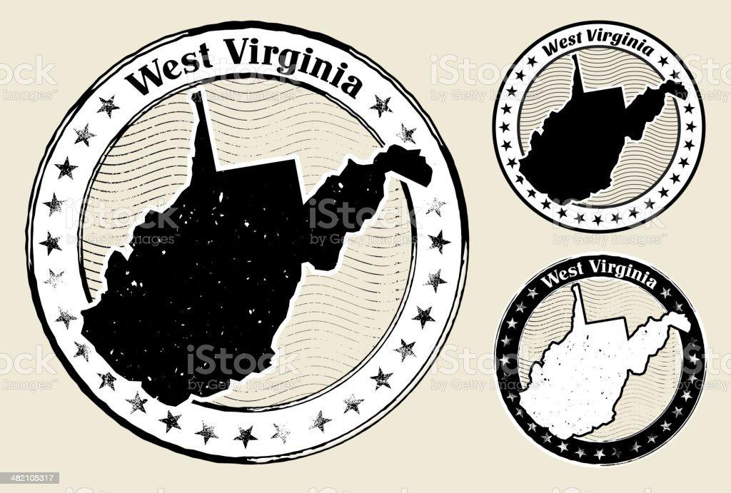 West Virginia Grunge Map Black & White Stamp Collection vector art illustration