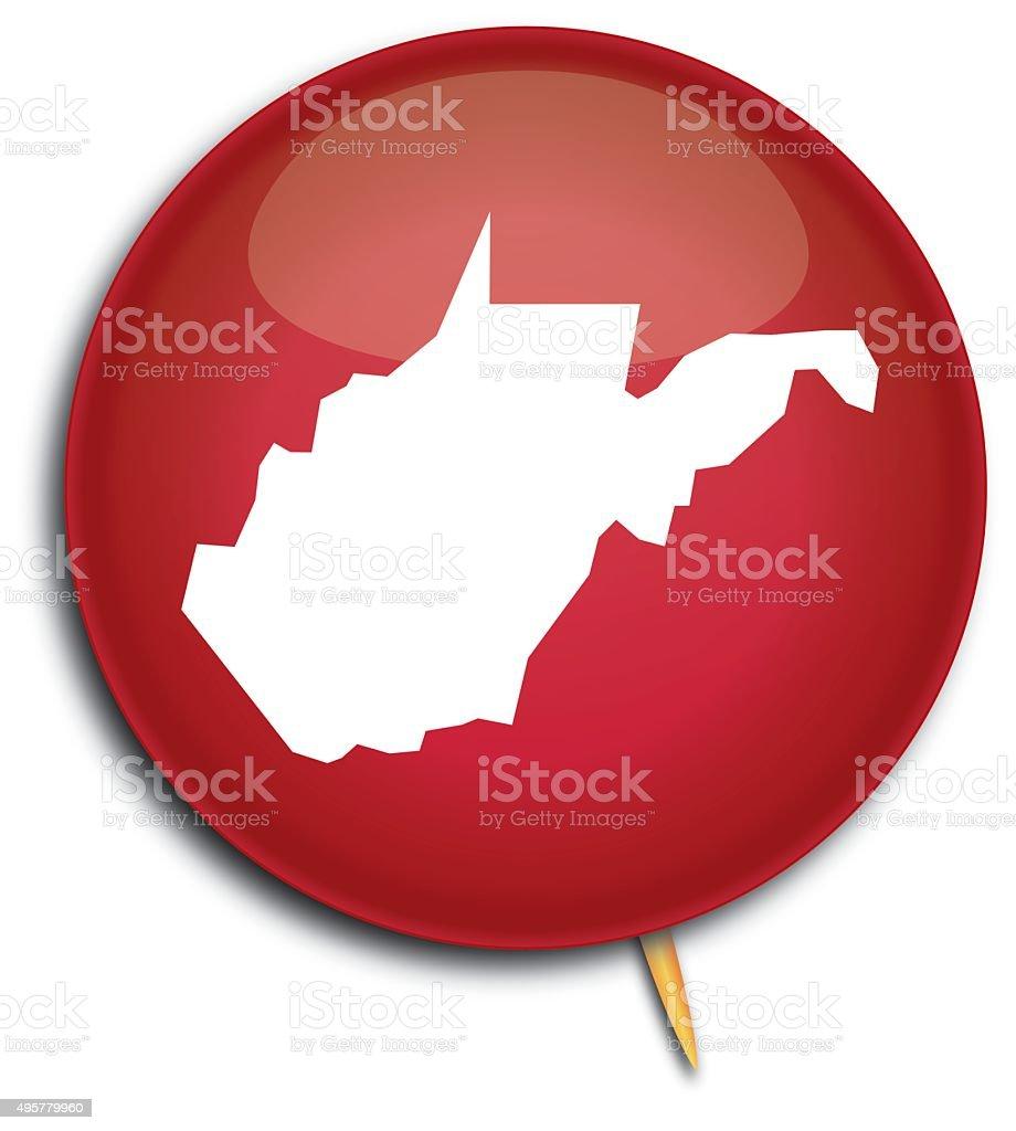 West Virginia Map Button vector art illustration
