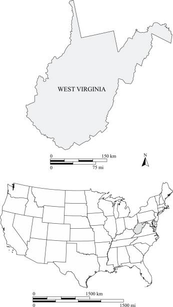 West Virginia Us State Clip Art Vector Images Illustrations - West virginia on us map