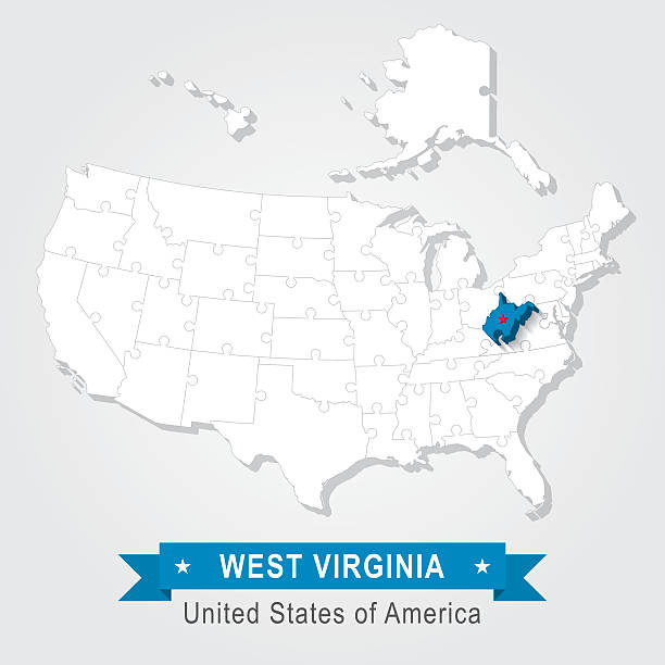 Flat Map Of West Virginia Clip Art Vector Images Illustrations - West virginia on us map