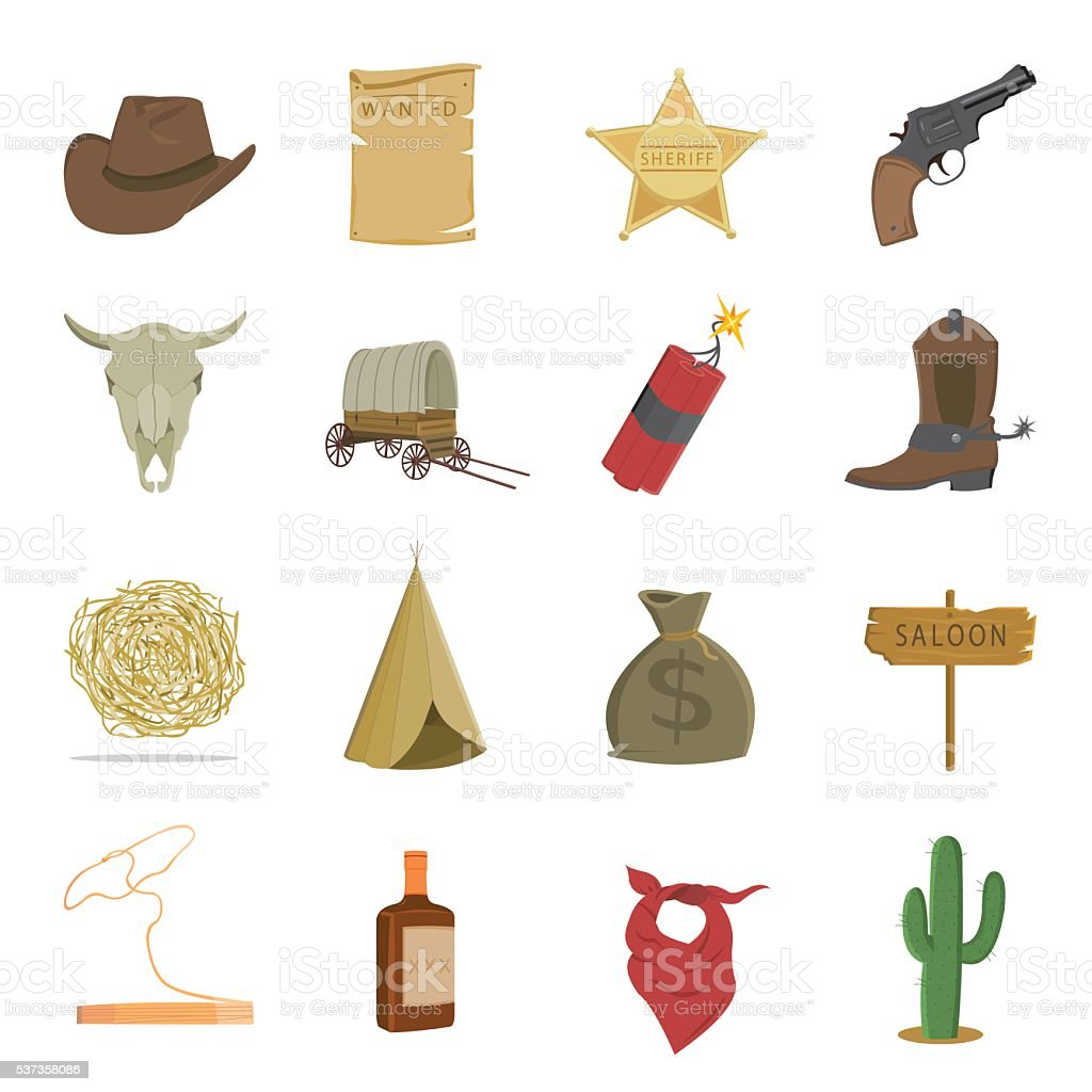Western 16 vector icons set in cartoon style. vector art illustration