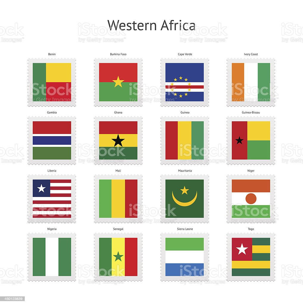 Western Africa Postage Stamp Flags Collection royalty-free stock vector art