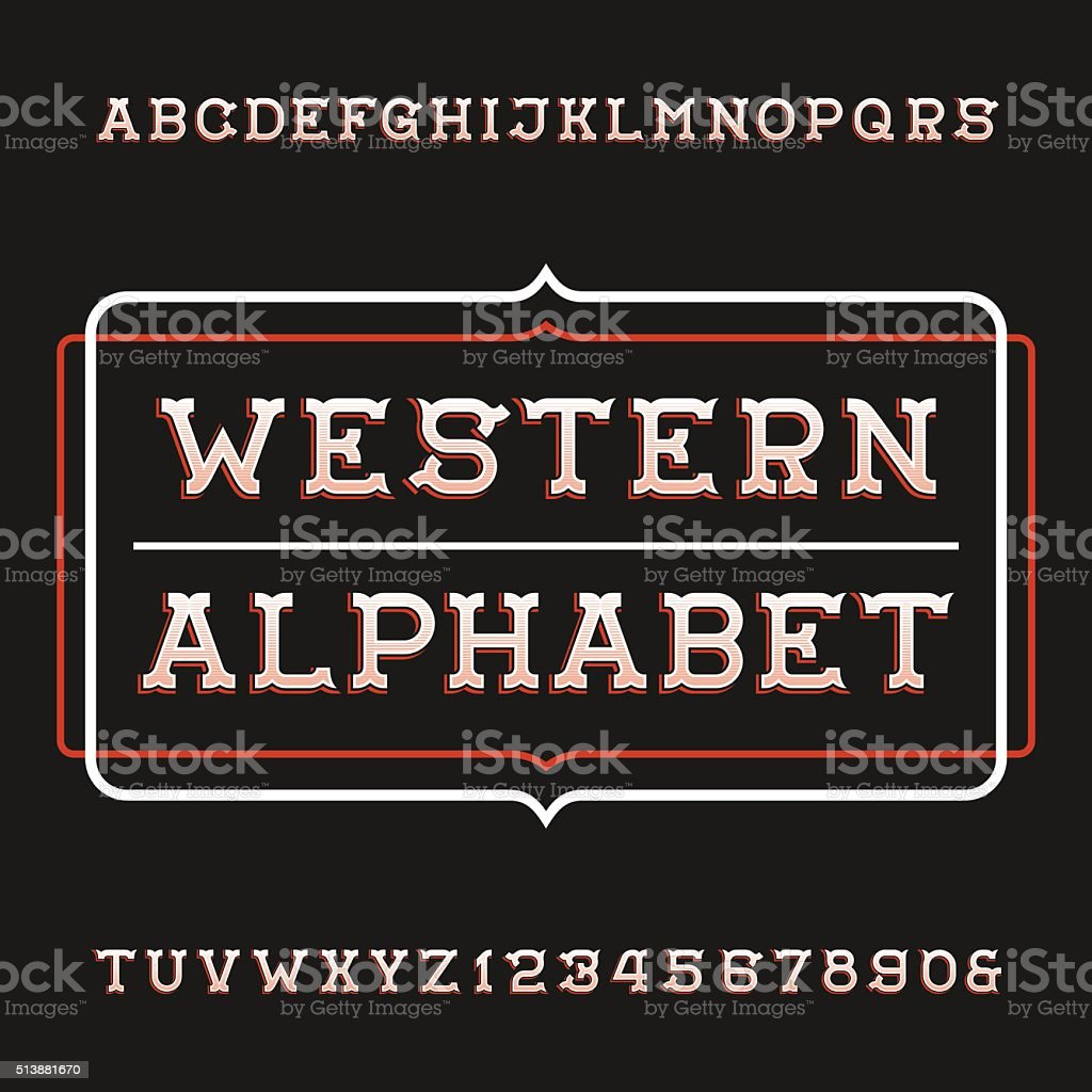 Western alphabet vector font. Vintage type letters and numbers. vector art illustration