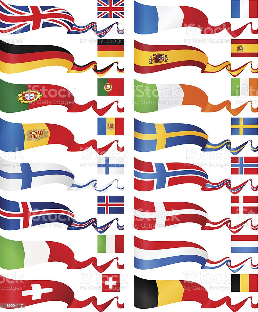 Western and North Europe Flag Banners collection vector art illustration