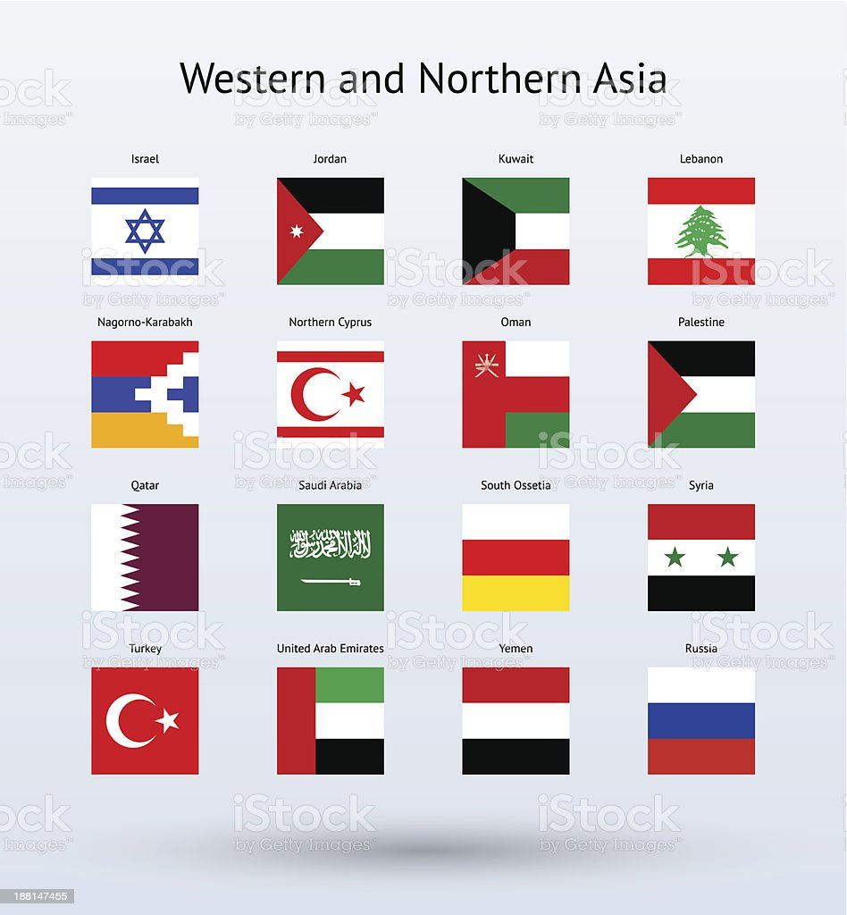 Western and Northern Asia Square Flags Collection royalty-free stock vector art