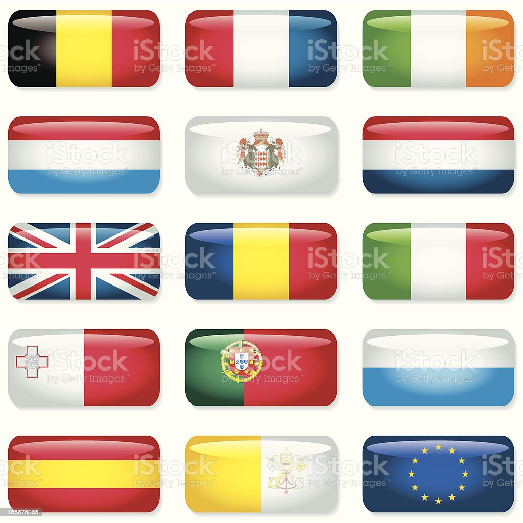 Western and Southern Europe Rectangular Flags royalty-free stock vector art
