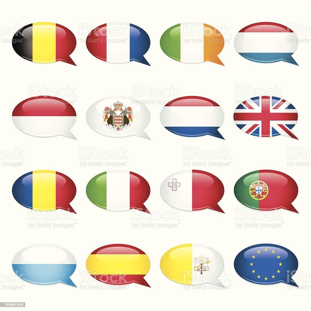 Western and Southern Europe Speech Bubble Flags royalty-free stock vector art