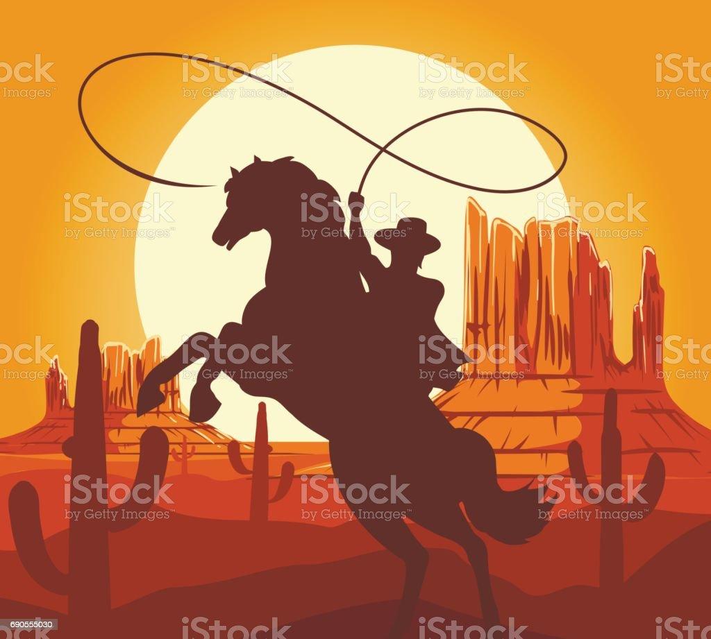 Western cowboys silhouette in desert vector art illustration