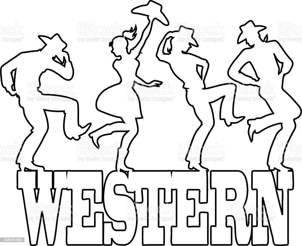 Western dance vector art illustration