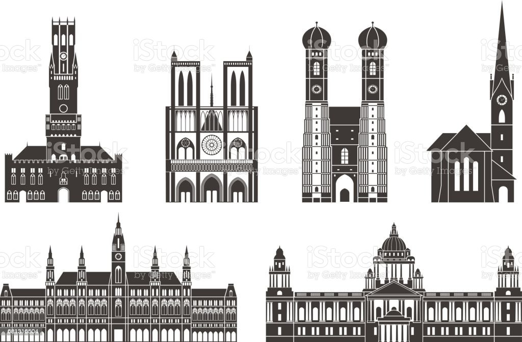 Western Europe. Architecture. Isolated European buildings on white background vector art illustration