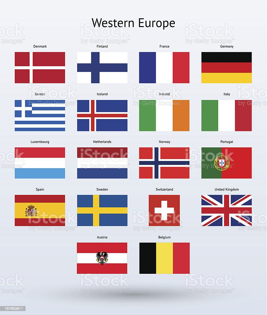 Western Europe Flags Collection vector art illustration