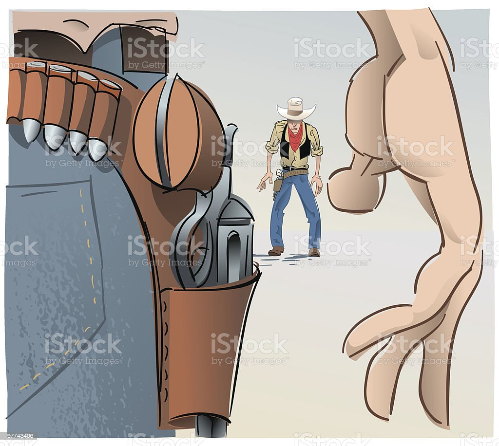 Western face-off #2 vector art illustration