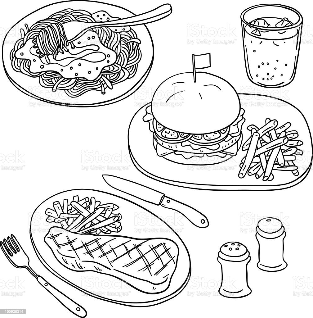 Western food in black and white vector art illustration