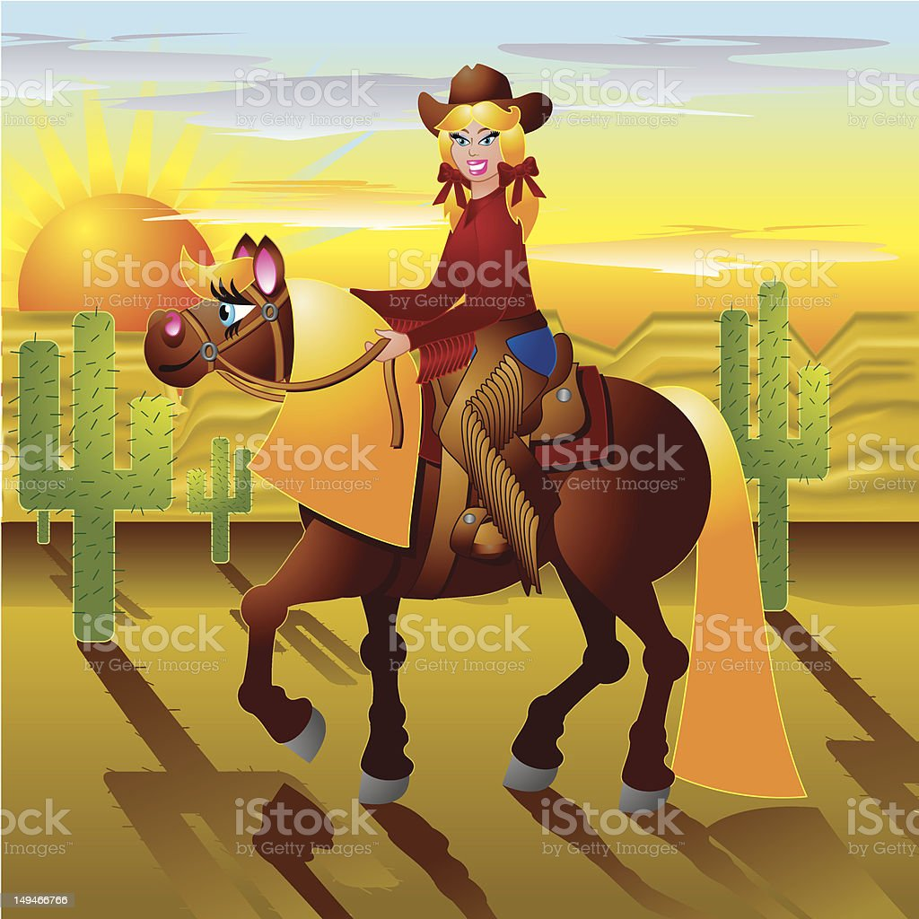 Western Horse and Rider royalty-free stock vector art