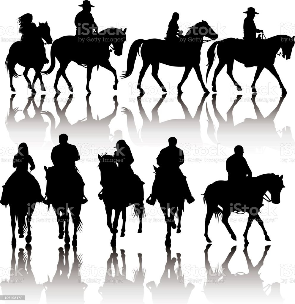 Western Horse Silhouettes vector art illustration