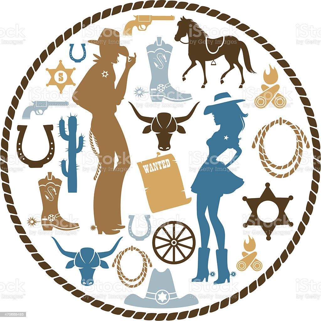 Western icon Set royalty-free stock vector art
