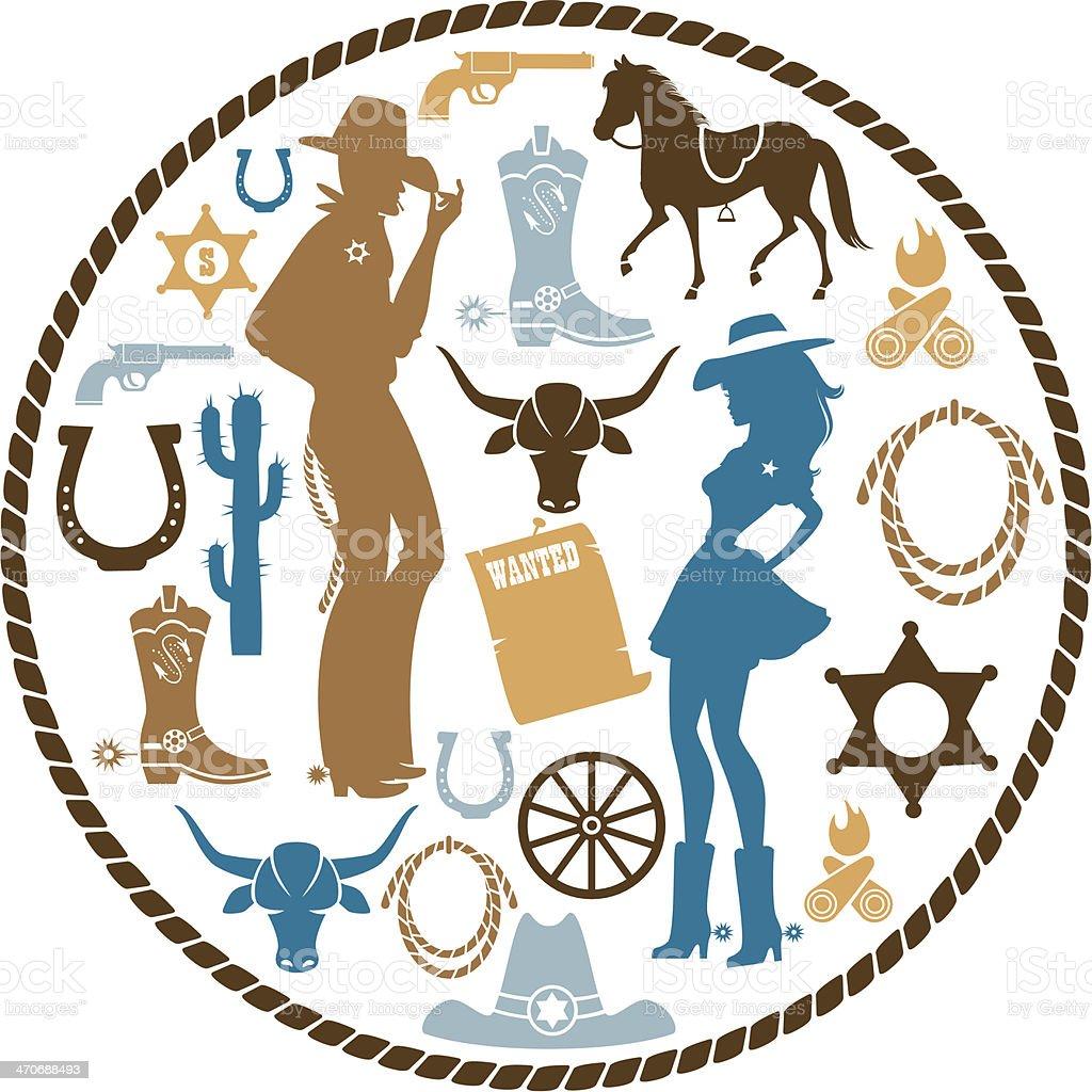 Western icon Set vector art illustration