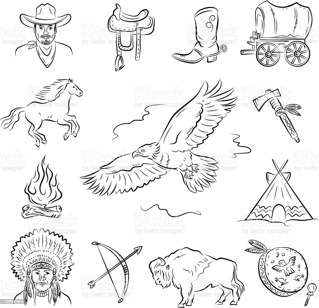 Western Icons Set. vector art illustration