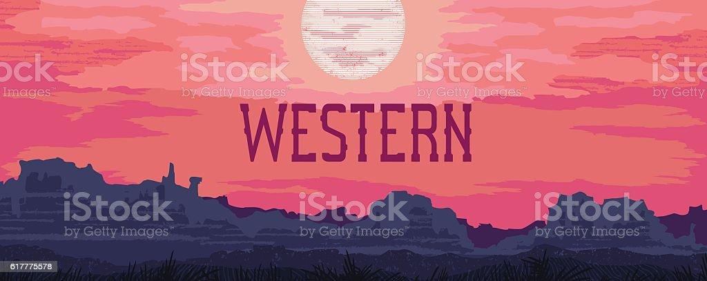 Western landscape banner vector art illustration