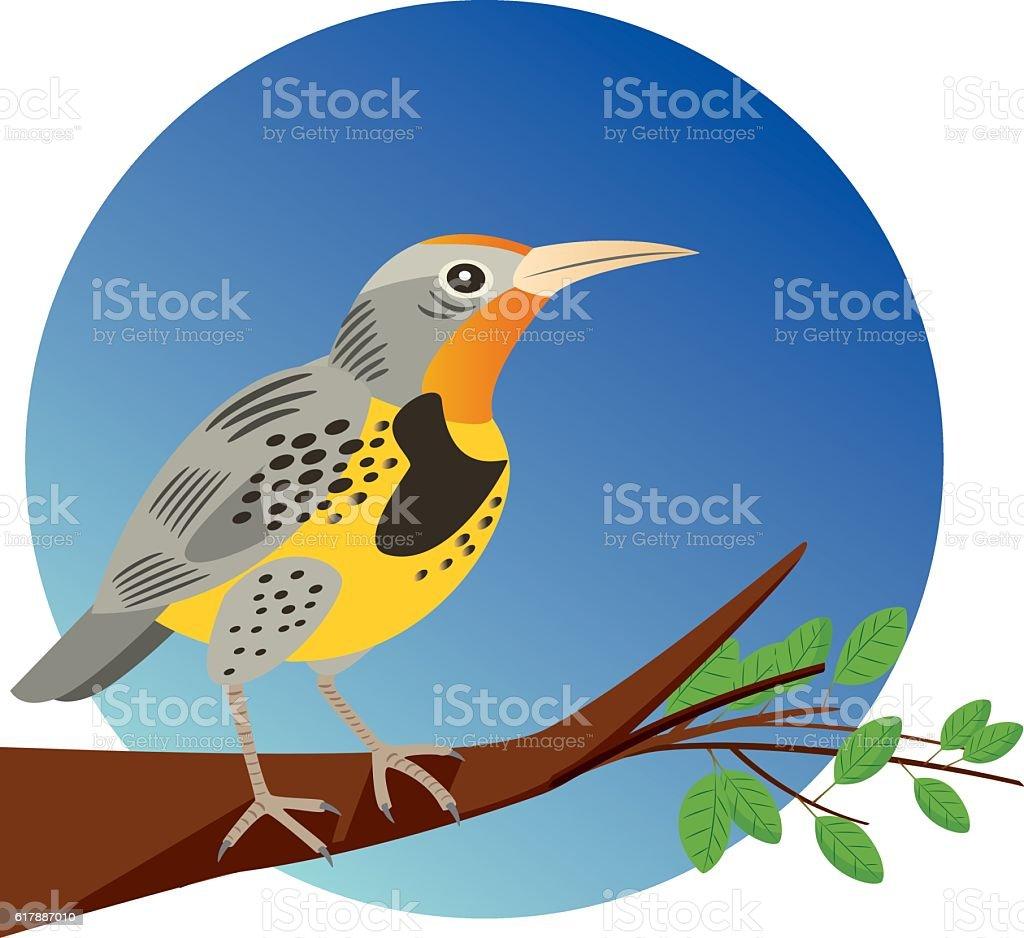 Western Meadowlark vector art illustration