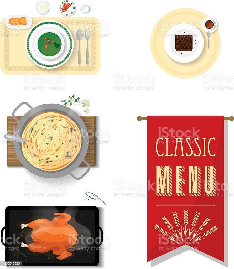Western menu dishes vector art illustration