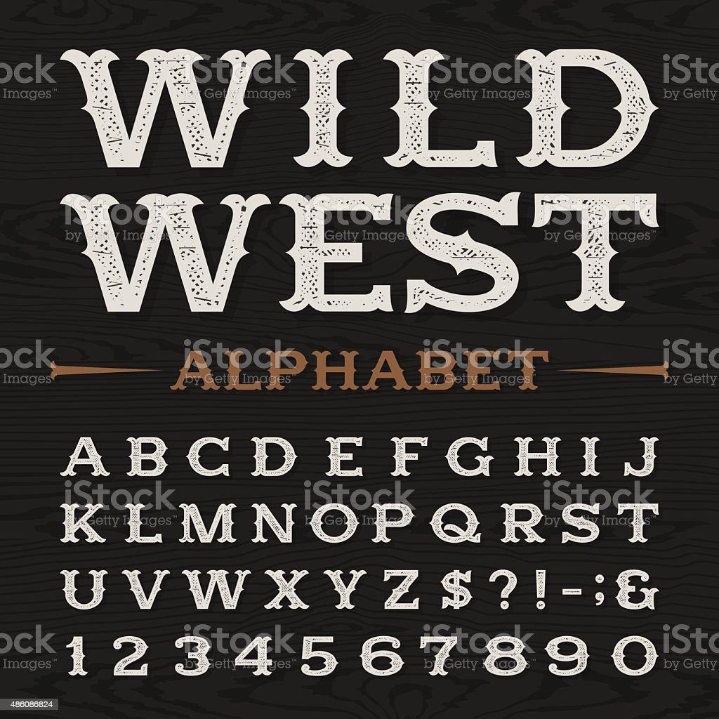Western retro dirty alphabet vector font. vector art illustration