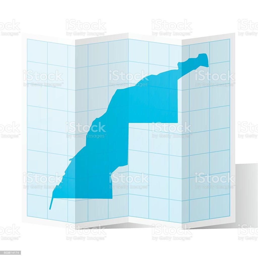 Western Sahara Map folded, isolated on white Background vector art illustration