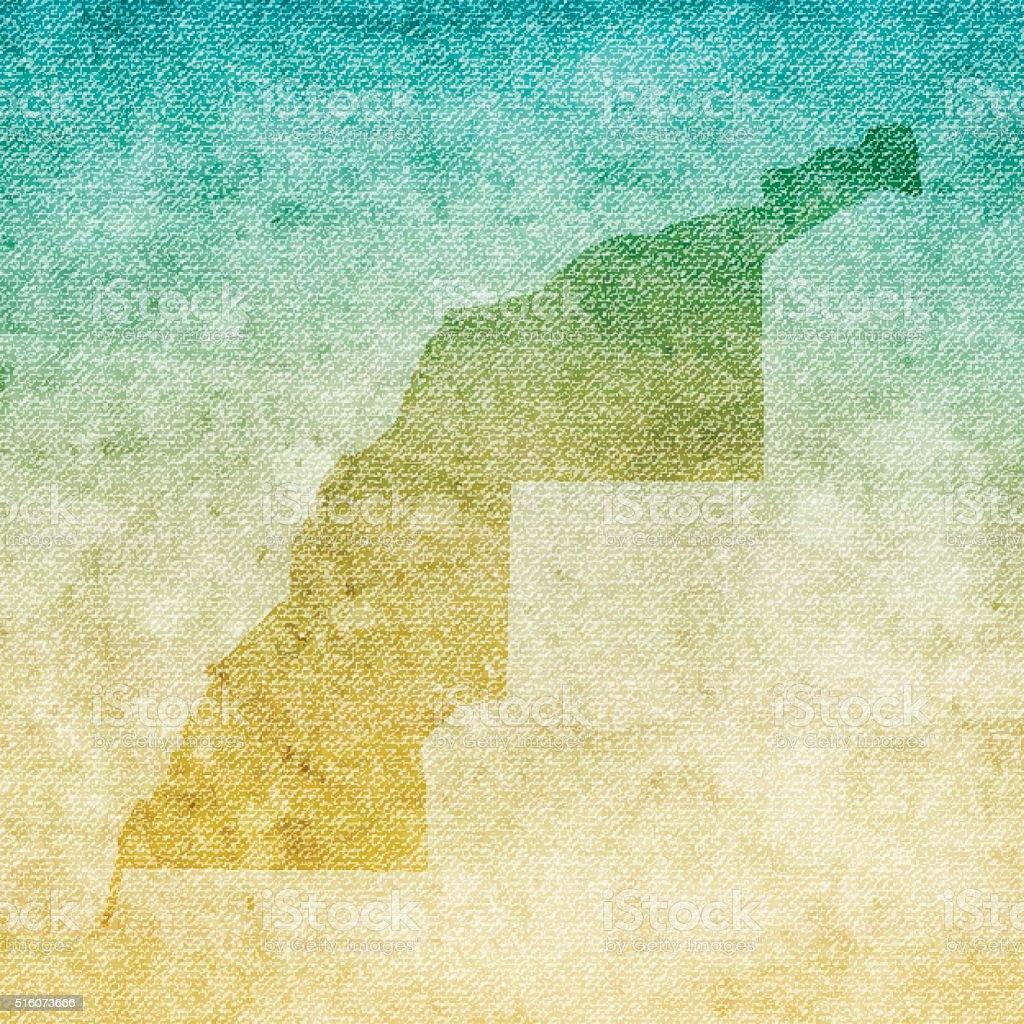 Western Sahara Map on grunge Canvas Background vector art illustration