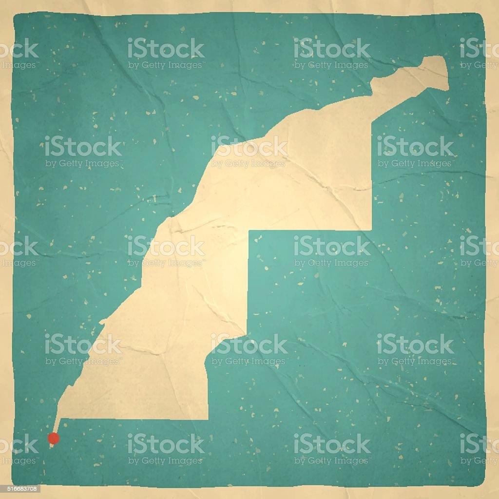 Western Sahara Map on old paper - vintage texture vector art illustration