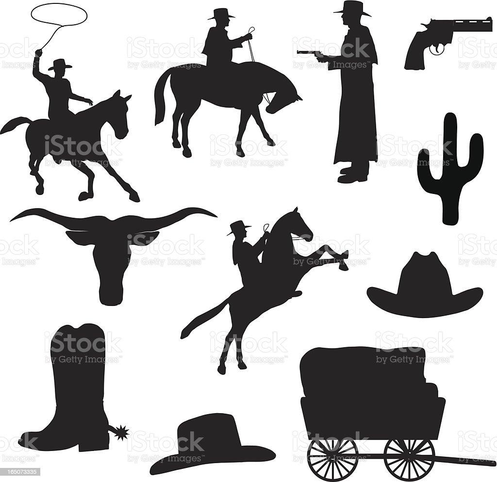 Western Silhouette Collection (vector+jpg) vector art illustration