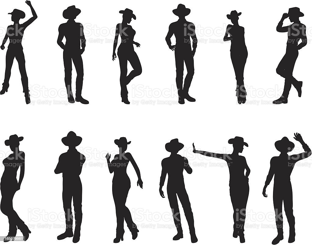 Western Silhouette Collection royalty-free stock vector art