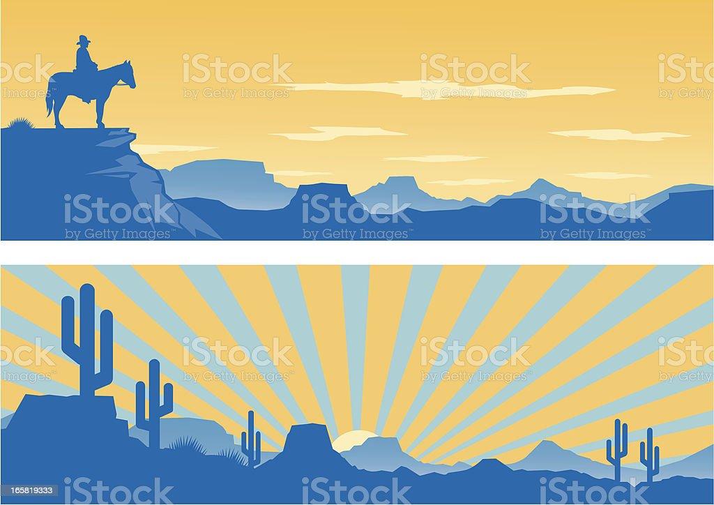 Western Silhouettes vector art illustration