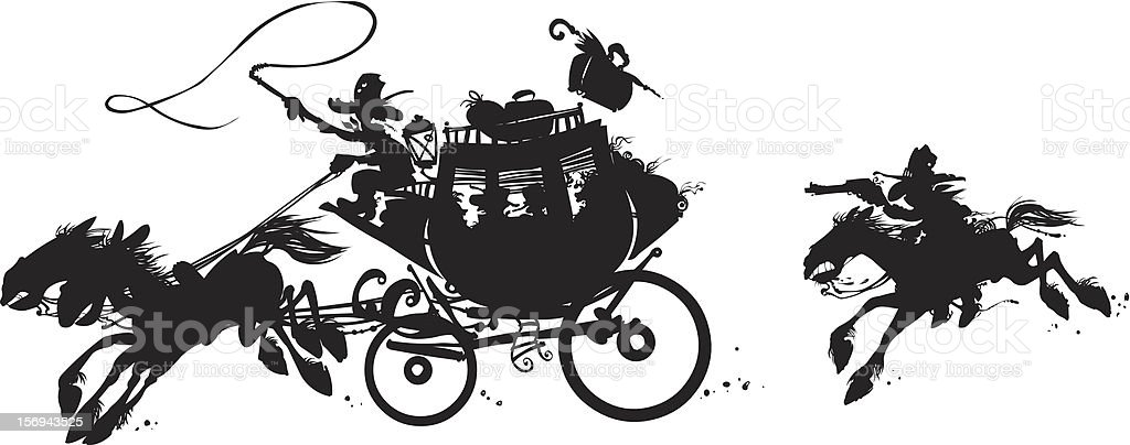 Western stagecoach. royalty-free stock vector art