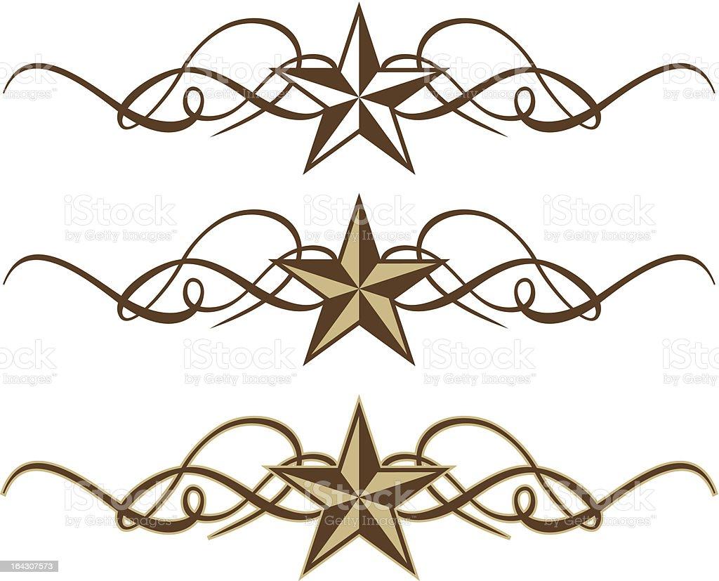 Western Star Scrolls vector art illustration