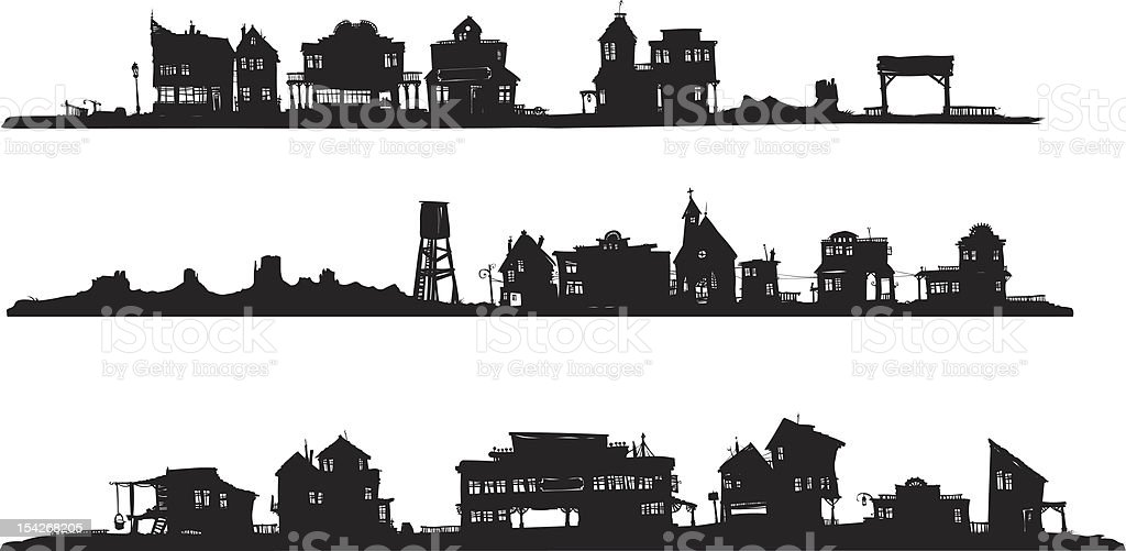 Western style buildings. Silhouette drawing. vector art illustration