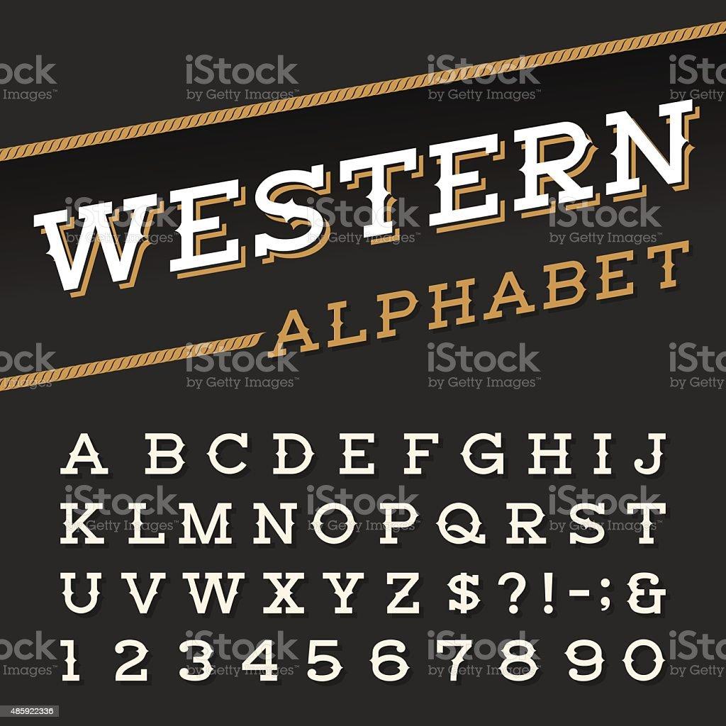 Western style retro alphabet vector font. vector art illustration