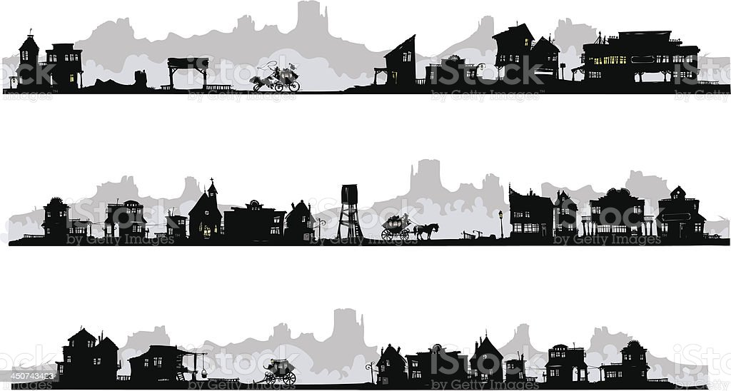 Western style silhouette buildings. vector art illustration